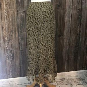 Sundance silk floral maxi skirt. Olive green 10